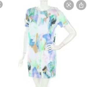 COS abstract pastel short sleeve dress sz 4